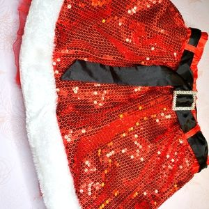 Sexy santa sequin belted tulle fluff skirt